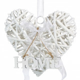 Inima decorativa din lemn, model cu mesaj, 20×19 cm, alb