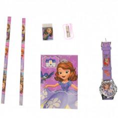 Set ceas, pentru copii, cu Printesa Sofia, caiet si rechizite cadou - 5020635