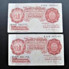 2 Bancnote vechi, Bank of England: 10 Shillings, 1955 (L.K. O'Brien)