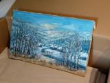 Tablou semnat pictor roman Ioan Matasareanu, pictura, desen, fara rama, peisaj