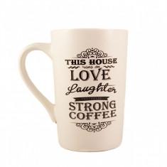 Cana ceramica Strong Coffee Alb cu negru 340 ml