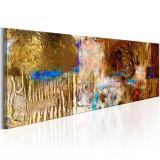 Tablou pictat manual - Structura de aur - 135 x 45 cm, Artgeist