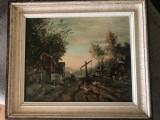 Tablou,pictura veche belgiana,in ulei pe panza, Peisaje, Altul