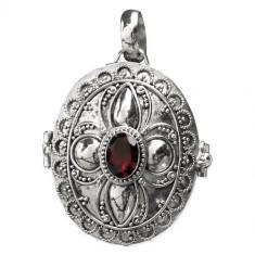 Pandantiv - medalion pentru poza argint cu granat K118G