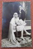 Mire si mireasa - Fotografie tip carte postala datata 1926, Sepia, Portrete, Romania 1900 - 1950