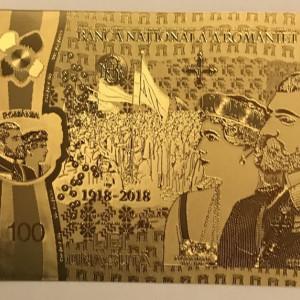 100 Lei Centenar  Unire 2018  24K bancnota polimer aniversara innobilata cu aur