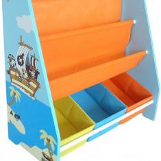 Organizator carti si jucarii cu cadru din lemn Blue Pirate