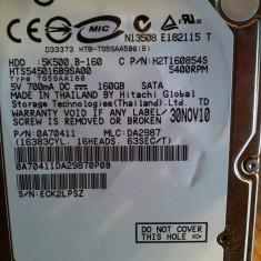 Hard disk laptop 160GB, HDD SATA 2.5 Hitachi HTS545016B9SA00, 5400 rpm TESTAT OK, 100-199 GB