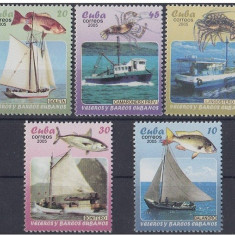 Cuba, vase, pescuit, 2005, serie si colita, MNH**