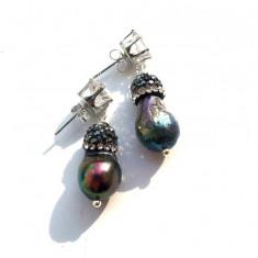 Cercei perle Edison&rhinestone