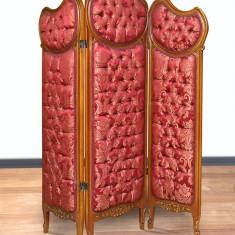 Paravan din lemn masiv cu tapiterie din matase bordeaux  AL-Paravent-red