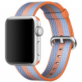 Curea pentru Apple Watch 38 mm iUni Woven Strap, Nylon, Orange-Blue