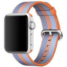 Curea pentru Apple Watch 42 mm iUni Woven Strap, Nylon, Orange-Blue