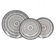 Set serviciu masa portelan 18buc Pleiadi alb-negru Handy KitchenServ