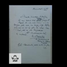Manuscris/ scrisoare scrisa si semnata de Nicolae Crevedia
