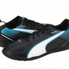 Ghete fotbal copii Puma Esquarda TT Jr. black-white-scuba blue 10312601, 34, Negru