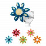 Cumpara ieftin Cercei din argint 925, floare cu vopsea colorată, mijloc bombat, cu șurub - Culoare: Albastru Închis