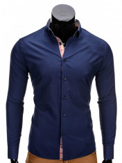 Camasa pentru barbati, bleumarin, model manseta si guler, slim fit, elastica, bumbac - K165 foto