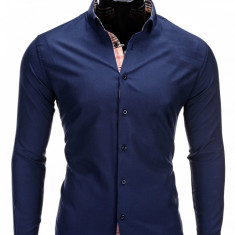 Camasa pentru barbati, bleumarin, model manseta si guler, slim fit, elastica, bumbac - K165