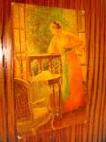 A985- DEGI-CP veche-Interior camera Femeie la salonas si fereastra anii 1920-30.