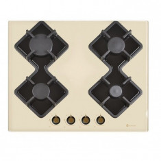 Plita incorporabila Studio Casa PG660 Parma Glass, 4 arzatoare gaz, 2 gratare fonta, aprindere electrica, sticla crem
