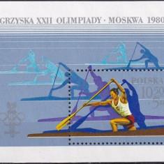 Polonia, sport, olimpiada de la Moscova, 1980, bloc, MNH