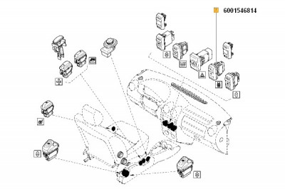 Buton Inchidere Centralizata (Comutator) Dacia Logan 2004-2009; Renault 6001546814 foto