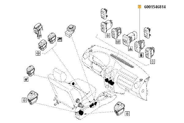 Buton Inchidere Centralizata (Comutator) Dacia Logan 2004-2009; Renault 6001546814