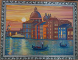 Cumpara ieftin Tablou unicat,in ulei pe panza 64x84 cm, Apus de soare in Venetia, rama lemn