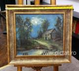 Tablou pictat manual ulei pe carton Peisaj de vara cu luna plina 41x36 cm