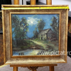 29 Peisaj nocturnde vara, tablou cu peisaj Rural, tablou peisaj cu casa 41x36 cm