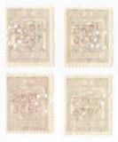 România, lot 32 cu 4 timbre fiscale cu perfin figurativ, MNH