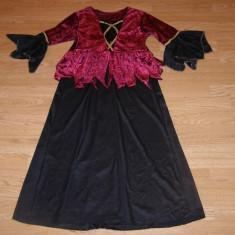 costum carnaval serbare vrajitoare rochie medievala pentru copii de 9-10 ani