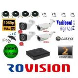 Cumpara ieftin Kit 4 camere supraveghere 2MP Full HD 1080p + DVR 4 canale 5MP + Surse + Cablu mufat si sertizat