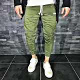 Pantaloni pentru barbati de trening verde conici banda jos cu siret alb rupturi genunchi bumbac Z0007