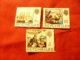 3 Timbre Seychelles 1969 -Corabii ,R.Elisabeta II stampilate: 65C,1R ,1,5R, Stampilat