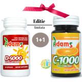 Vitamina D 5000 60cps+Vitamina C 1000mg 30tb Masticabile Pachet 1+1
