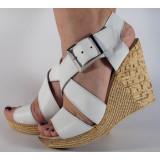 Sandale albe plaforma piele naturala (cod SS04)