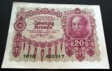 Bancnota ISTORICA 20 COROANE- AUSTRO-UNGARIA (AUSTRIA), anul 1922 *cod 478 C