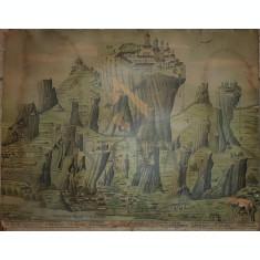 """LITOGRAFIE COLOR """"MUNTELE ATHOS-METEORA"""", Sfarsit de Secol al XIX-lea"""