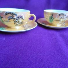 Set 2 cesti cafea portelan Kutani, gheisa, coaja de ou, pictate manual   -K1