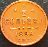 Moneda istorica 1/2 COPEICA - RUSIA TARISTA, anul 1899    *cod 1699 B