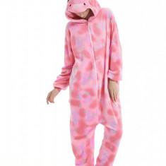 PJM76-5 Pijama intreaga, pufoasa cu model unicorn roz