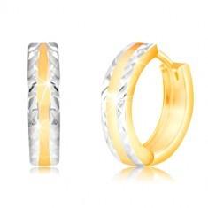 Cercei din aur de 14K- cerc strălucitor cu margini mate din aur alb