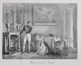 CLEMENCE ENVERS LA PRINCESSE D ' HATZFELD ( CLEMENTA ARATATA PRINTESEI DE HATZFELD ) , LITOGRAFIE de C. MOTTE , MONOCROMA, MIJLOCUL SEC. XIX