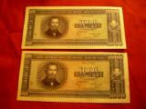 2 Bancnote 1000 lei 1950 20 sept. 1950 RPR ,serii consecutive,  cal. necirculat