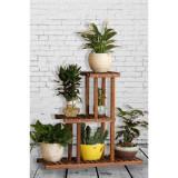 Stand etajera flori, Homs Garden 10, 85x85x25, lemn natur
