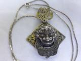 MEDALION argint HINDUS personaj SIMBOL superb MASIV rar VECHI pe Lant argint