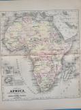 Harta a Africii, tiparitura originala din anul 1896