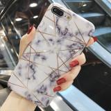 Husa de telefon cu aspect marmorat si forme geometrice pentru iPhone 6 6s 7 8 Plus X